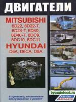 Руководство по ремонту, инструкция по эксплуатации, техническое обслуживание двигателей Mitsubishi 6D22 / 6D22-T / 6D24-Т / 6D40 / 6D40-Т / 8DС9 / 8DС10 / 8DС11, Hyundai D6A / D6СА / D8А