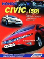 Руководство по ремонту, инструкция по эксплуатации Honda Civic 5D. Модели с 2006 по 2011 год выпуска, оборудованные бензиновыми двигателями.