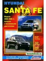 Руководство по ремонту, инструкция по эксплуатации Hyundai Santa Fe. Модели с 2000 по 2006 год выпуска, оборудованные бензиновыми двигателями