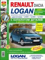 Руководство по ремонту и эксплуатации, каталог запасных частей Renault Logan. Модели с 2005 года выпуска (рестайлинг 2010 г.), оборудованные бензиновыми двигателями