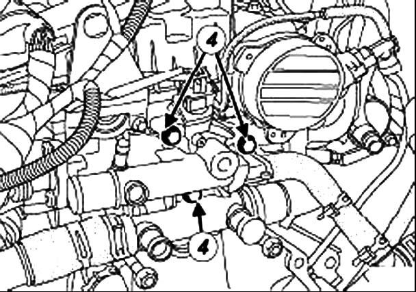 Откручивание болтов термостата Renault Master