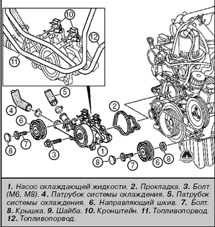Составные элементы охлаждающего насоса Mercedes Sprinter