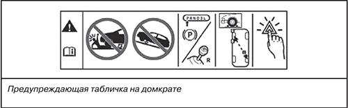 Предупреждающая табличка на домкрате Jeep Grand Cherokee